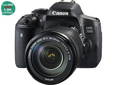 DSLR Canon EOS 750D 18-135mm IS EGP - Μαύρο