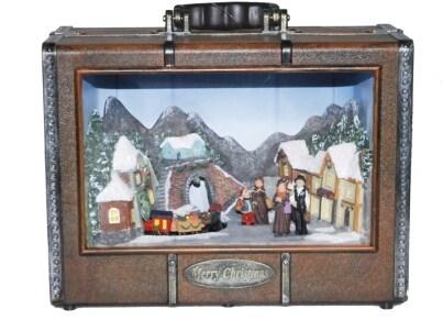 Χριστουγεννιάτικο Διακοσμητικό ΜΜΜ Βαλίτσα Με Φωτάκια