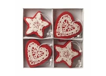Χριστουγεννιάτικα Στολίδια Heaven Sends Ξύλινες Καρδιές & Αστέρια