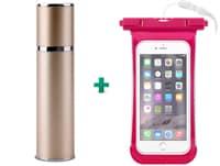 "Powerbank USB Puro External Battery 2200 mAh Χρυσό + Δώρο Αδιάβροχη Θήκη Smartphone έως 5.1"" Ροζ"