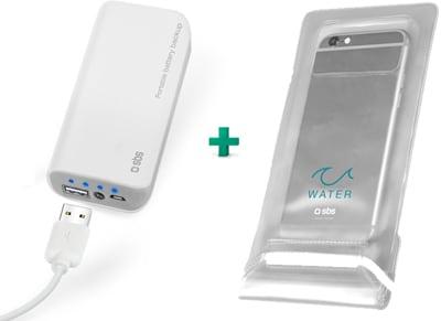 Powerbank SBS 5000 mAh & SBS Αδιάβροχη Θήκη Smartphone Λευκό