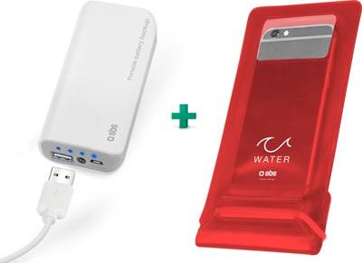 Powerbank SBS 5000 mAh & SBS Αδιάβροχη Θήκη Smartphone Κόκκινο