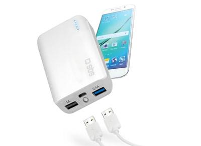 Powerbank USB - SBS Compact Fast Charge 10.000 mAh 2.1A - Λευκό