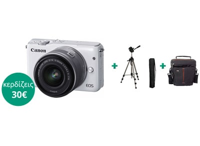 Mirrorless Camera Canon EOS M10 15-45mm KIT & Τρίποδο & Τσάντα Μεταφοράς