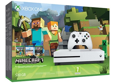 Microsoft Xbox One S White - 500GB & Minecraft Favorites