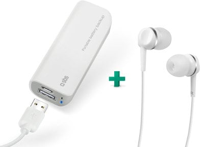 Powerbank USB SBS Portable Battery Backup 2200 mAh Λευκό & Handsfree Studio Mix 25 Wired (TEINEARWL)
