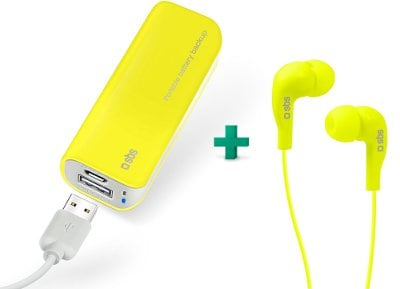 Powerbank USB - SBS Portable Battery Backup 2200 mAh 1A - Κίτρινο & Handsfree Studio Mix 10 Wired (TEINEARYL)