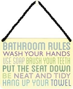 Κρεμαστή Μεταλλική Πινακίδα - Bathroom Rules