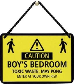 Κρεμαστή Μεταλλική Πινακίδα - Caution Boy'S Bedroom