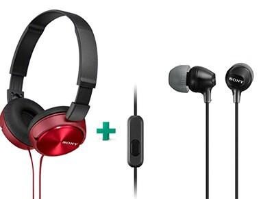 Ακουστικά Sony MDR-EX15AP & Sony MDR-ZX310AP - Μαύρο / Κόκκινο