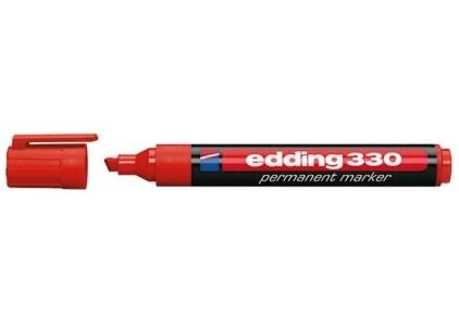 Μαρκαδόρος Ανεξίτηλος Πλακέ 330 Edding Πλαστικός 1-5 mm Κόκκινο