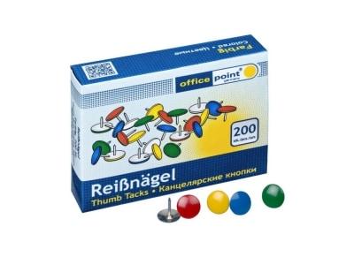 Πινέζες Χρωματιστές Office Point - 200 Τεμάχια