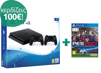 Sony PlayStation 4 - 1TB Slim D Chassis & Pro Evolution Soccer 2017 & 2ο Χειριστήριο (μαύρο)