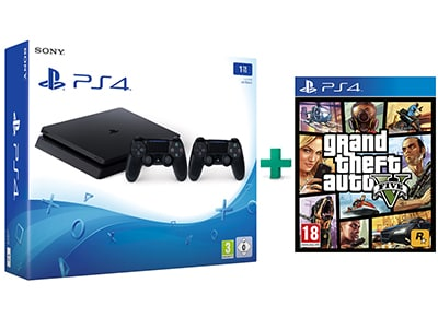 Sony PlayStation 4 - 1TB Slim D Chassis & Grand Theft Auto V & 2ο Χειριστήριο (μαύρο)