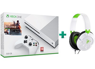 Microsoft Xbox One S White - 500GB & Battlefield 1 & Turtle Beach Ear Force Recon 50X Gaming Headset
