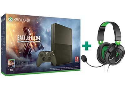 Microsoft Xbox One S Military Green - 1TB & Battlefield 1 Deluxe Edition & Turtle Beach Ear Force Recon 50X Gaming Headset