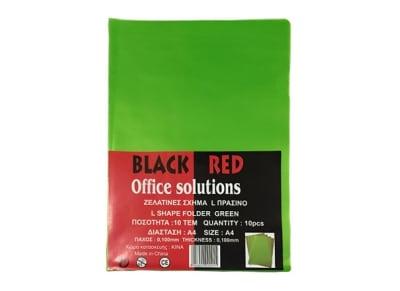 Θήκη διαφανής - Black-Red  -  Σχήμα L - Πράσινο - 0.10mm - 10 τεμάχια