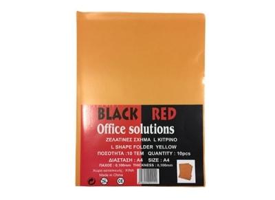 Θήκη διαφανής - Black-Red  - Σχήμα L - Κίτρινο - 0.10mm - 10 τεμάχια