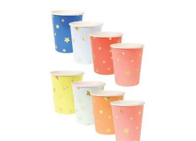 Ποτήρια Meri-Meri Αστέρια Διάφορα Χρώματα - Σετ 8 Τεμάχια