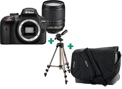 Public Pack: DSLR Nikon D3400 & 18-105 VR & Τσάντα Μεταφοράς Nikon & Τρίποδο Hama & Σετ Καθαρισμού Hama