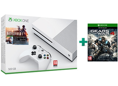 Microsoft Xbox One S White - 500GB & Battlefield 1 & Gears of War 4