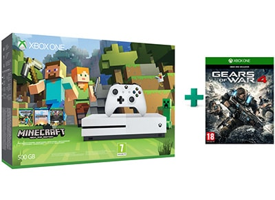 Microsoft Xbox One S White - 500GB & Minecraft Favorites & Gears of War 4