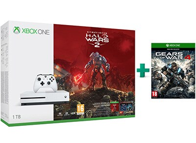 Microsoft Xbox One S White - 1TB & Halo Wars 2 Ultimate Edition & Gears of War 4