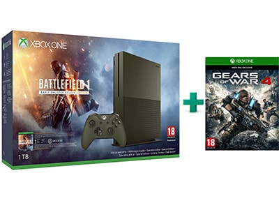 Microsoft Xbox One S Military Green - 1TB & Battlefield 1 Deluxe Edition & Gears of War 4
