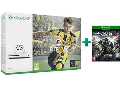 Microsoft Xbox One S White - 1TB & FIFA 17 & Gears of War 4