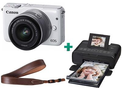 Mirrorless Camera Canon EOS M10 15-45mm Kit Λευκό & Canon Selphy Φορητός Εκτυπωτής