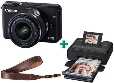 Mirrorless Camera Canon EOS M10 15-45mm Kit Μαύρο & Canon Selphy Φορητός Εκτυπωτής