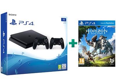 Sony PlayStation 4 - 1TB Slim D Chassis & Horizon: Zero Dawn & 2ο Χειριστήριο (μαύρο)