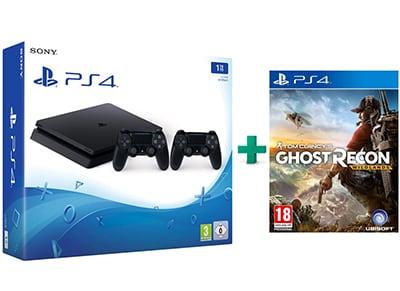 Sony PlayStation 4 - 1TB Slim D Chassis & Tom Clancy's Ghost Recon: Wildlands & 2ο Χειριστήριο (μαύρο)