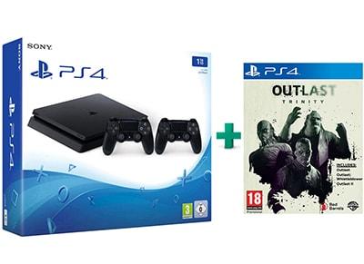 Sony PlayStation 4 - 1TB Slim D Chassis & Outlast Trinity & 2ο Χειριστήριο (μαύρο)