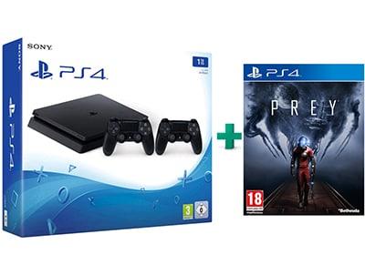 Sony PlayStation 4 - 1TB Slim D Chassis & Prey & 2ο Χειριστήριο (μαύρο)