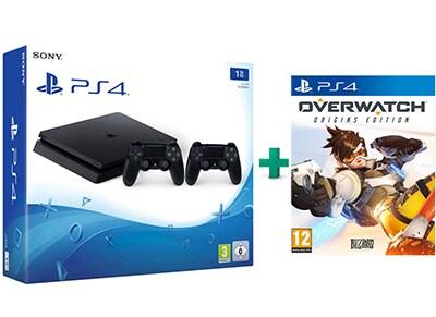 Sony PlayStation 4 - 1TB Slim D Chassis & Overwatch & 2ο Χειριστήριο (μαύρο)