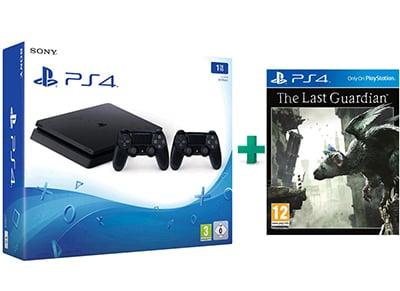 Sony PlayStation 4 - 1TB Slim D Chassis & The Last Guardian & 2ο Χειριστήριο (μαύρο)
