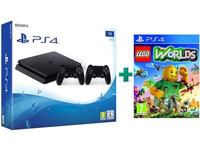 Sony PlayStation 4 - 1TB Slim D Chassis & LEGO Worlds & 2ο Χειριστήριο (μαύρο)