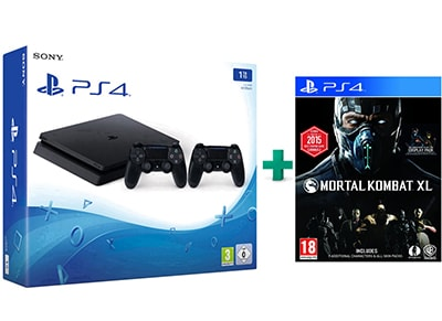 Sony PlayStation 4 - 1TB Slim D Chassis & Mortal Kombat XL & 2ο Χειριστήριο (μαύρο)