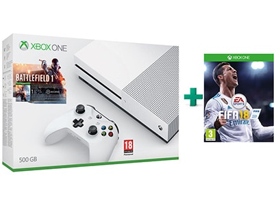 Microsoft Xbox One S White - 500GB & Battlefield 1 & FIFA 18