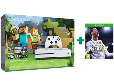 Microsoft Xbox One S White - 500GB & Minecraft Favorites Pack & FIFA 18