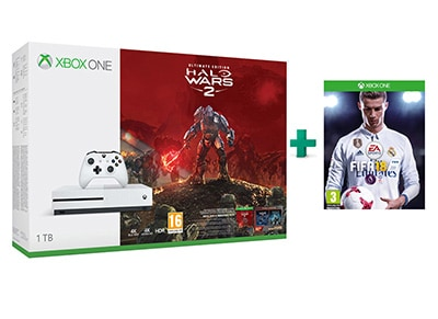 Microsoft Xbox One S White - 1TB & Halo Wars 2 Ultimate Edition & FIFA 18