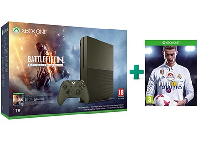 Microsoft Xbox One S Military Green - 1TB & Battlefield 1 Deluxe Edition & FIFA 18