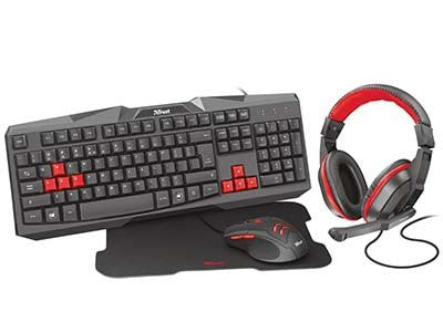 Trust Ziva 4-in-1 Gaming Bundle - Gaming Mouse & Keyboard & Headset & Mousepad