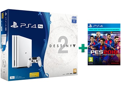 Sony PlayStation 4 Pro White - 1TB & Destiny 2 Deluxe Edition & PES 2018