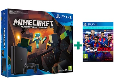 Sony PlayStation 4 - 500GB Slim & Minecraft & PES 2018