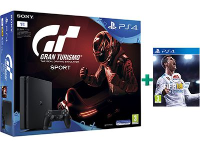 Sony PlayStation 4 - 1TB Slim & Gran Turismo Sport & FIFA 18 gaming   κονσόλες   ps4