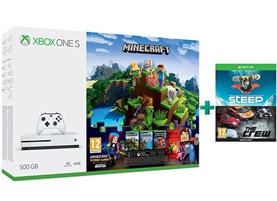 Microsoft Xbox One S White - 500GB & Minecraft & Minecraft: Story Mode S1 Complete & Steep & The Crew (Digital)