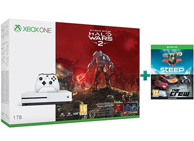 Microsoft Xbox One S White - 1TB & Halo Wars 2 Ultimate Edition & Steep & The Crew (Digital)