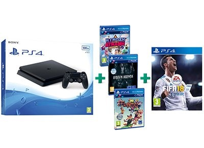 Sony PS4 Slim 500GB Μαύρο & Frantics & Hidden Agenda & Knowledge is Power & FIFA gaming   κονσόλες   ps4
